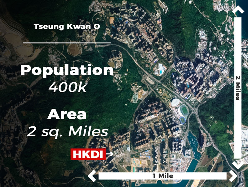 This arial view photo of Tseung Kwan O shows the location of the HKDI.